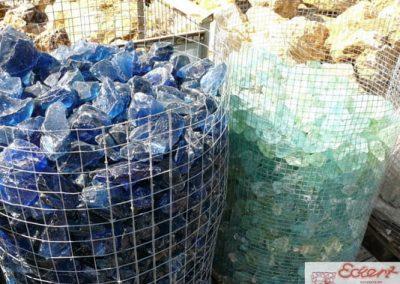 Steinbeet Glassplitt blau türkis 40/80 mm Eckert Natursteine