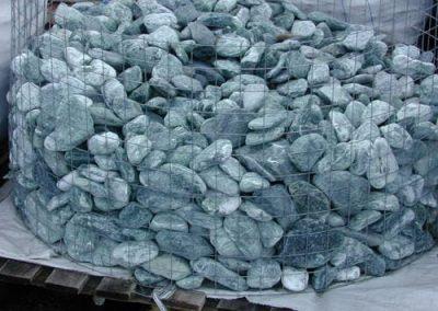 Gabionen Steinbeet Marmorkies grün 60-100 mm Eckert Natursteine